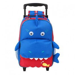 Yodo Baby Shark 3-Way Kids Rolling Trolley Luggage or Kids Backpack with Wheels for Boys Girls